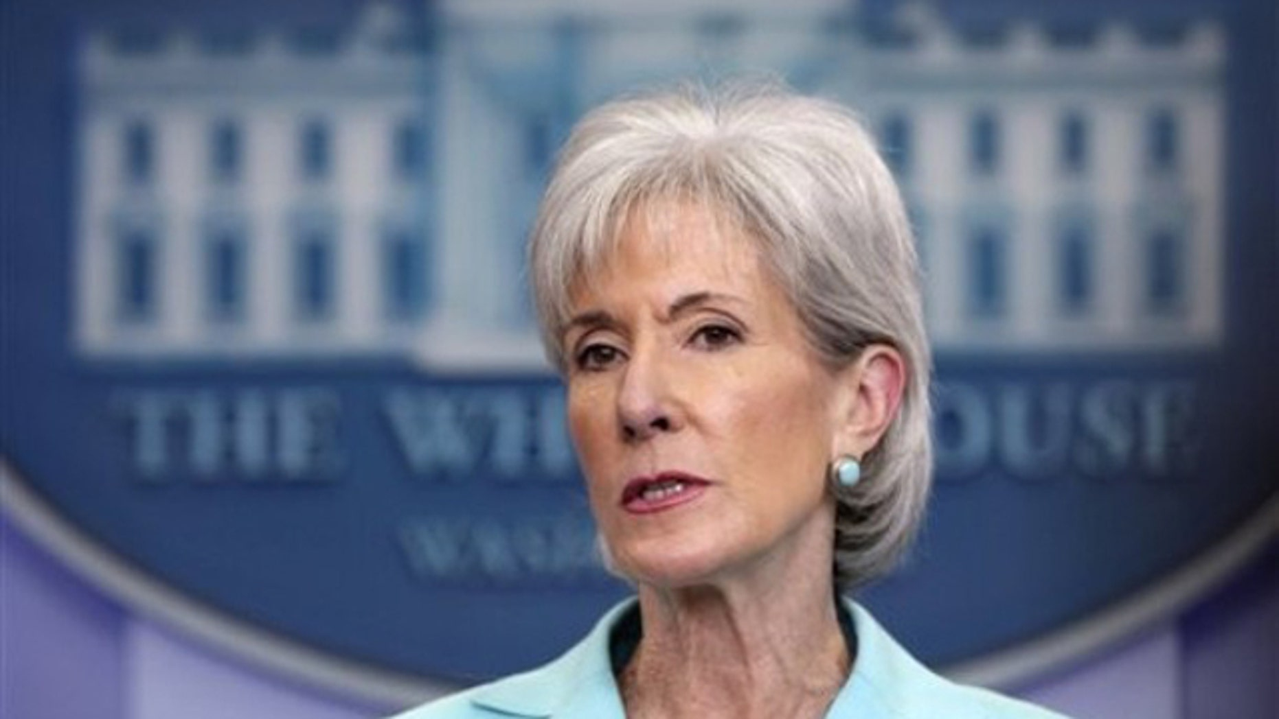 Health and Human Services Secretary Kathleen Sebelius speaks during the daily news briefing at the White House June 21.