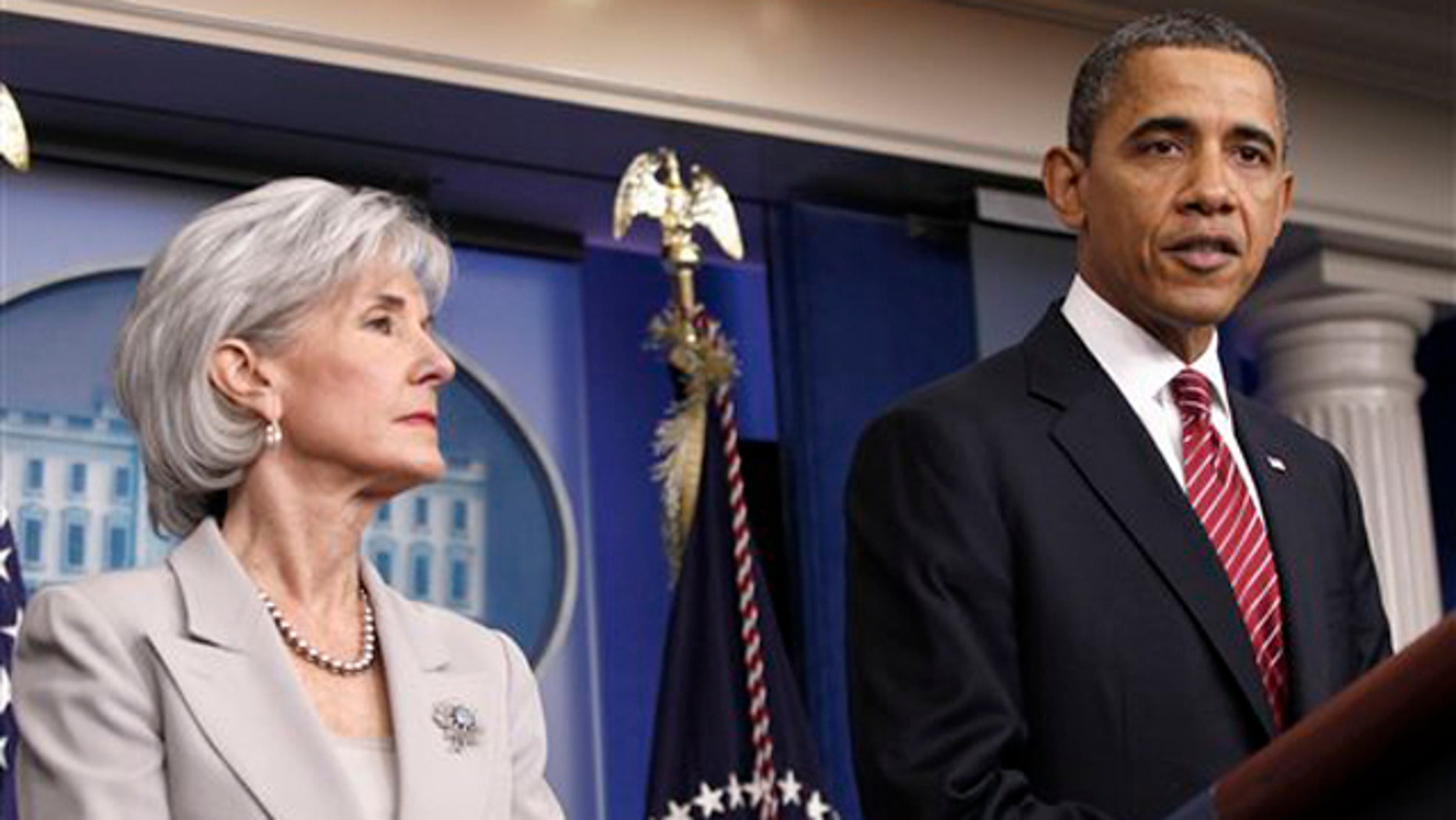 Feb. 10, 2012: President Obama, accompanied by Health and Human Services Secretary Kathleen Sebelius, announces the revamp of his contraception policy at the White House.