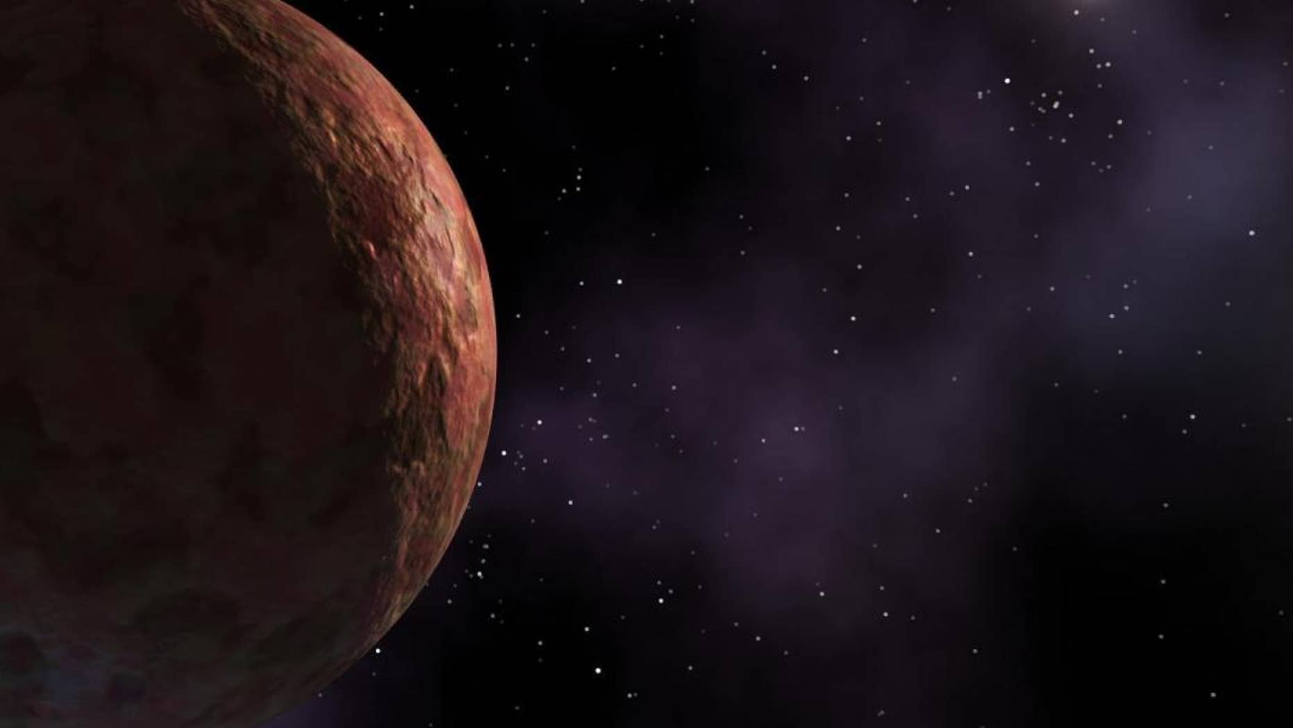An artist's image of Sedna, which may have been booted to its extremely distant orbit by the collective gravity of numerous small objects.