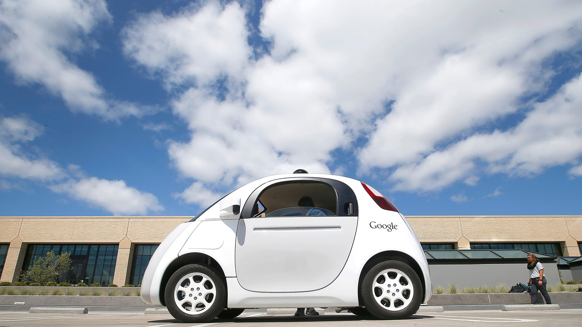 A Google car prototype at the Google campus in Mountain View, Calif.
