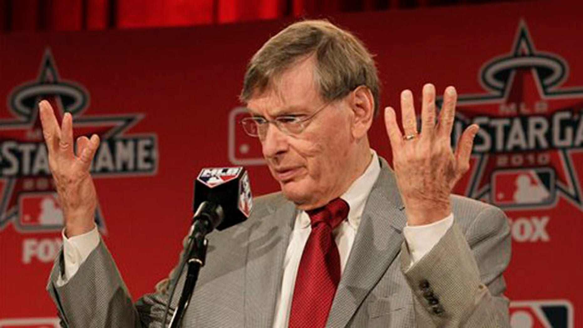 Major League Baseball Commissioner Bud Selig speaks at a press conference before All-Star festivities July 12 in Anaheim, Calif. (AP Photo)