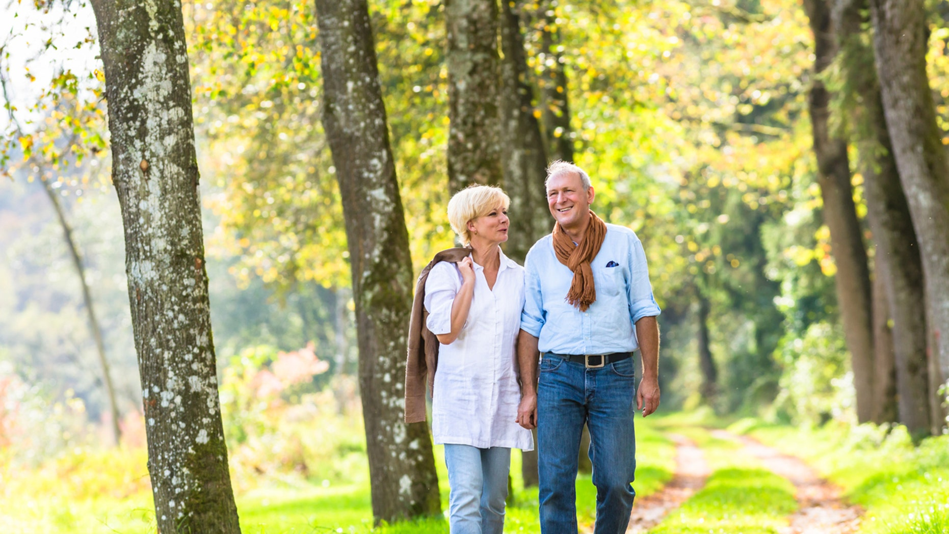 Senior woman and man, a couple, holding hand having walk in the fall forest