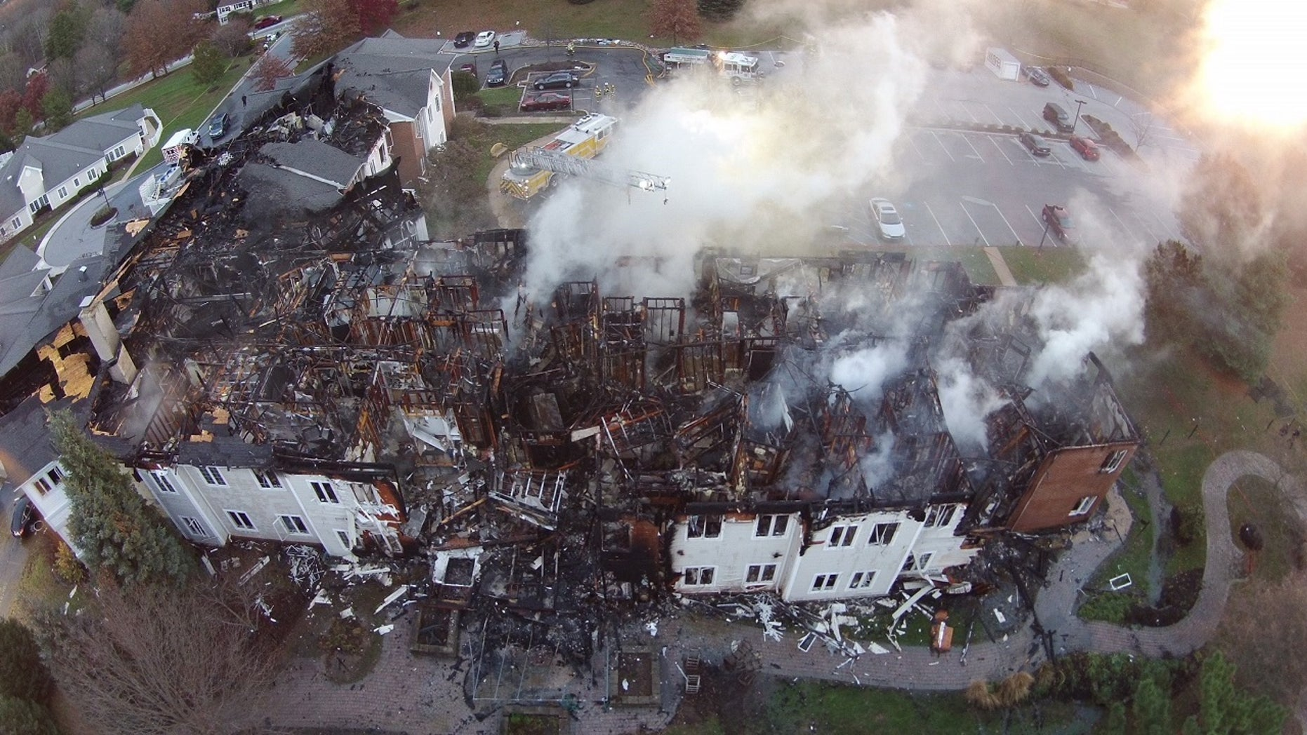 The charred remains of the Barclay Friends Senior Living Community are seen in West Chester, Pa., Nov. 17, 2017.