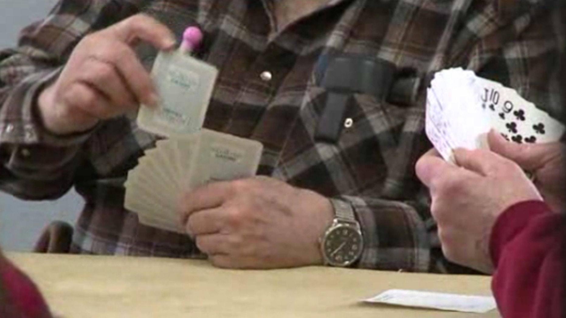 UNDATED: A group of seniors who play poker with dimes and nickels at the Snohomish Senior Center were recently given a cease-and-desist warning from the state Washington State Gambling Commission.