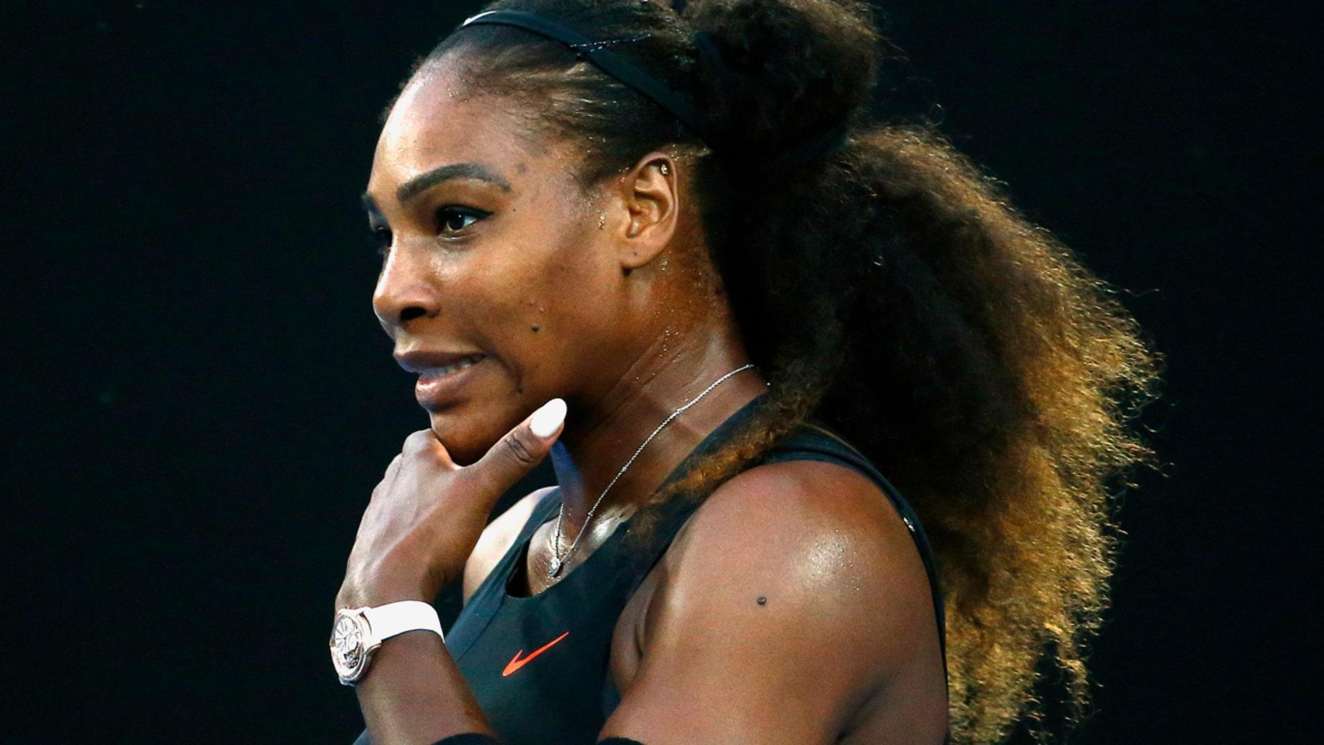 Tennis - Australian Open - Melbourne Park, Melbourne, Australia - 28/1/17 Serena Williams of the U.S. reacts during her Women's singles final match against Venus Williams of the U.S. .REUTERS/Edgar Su - RTSXQW6