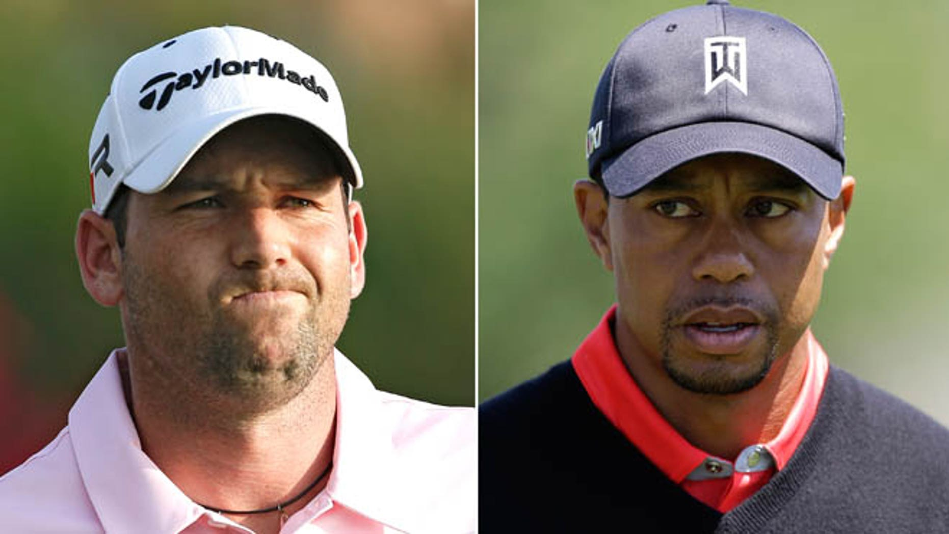 May 5, 2013: At left, in a file photo, Sergio Garcia grimaces during The Players Championshop golf tournament in Ponte Vedra Beach, Fla. At right, in a March 25, 2013 file photo, Tiger Woods walks to the 16th green during the final round of the Arnold Palmer Invitational golf tournament in Orlando, Fla. Woods and Garcia don't like each other, and are making no attempt to disguise their feelings.