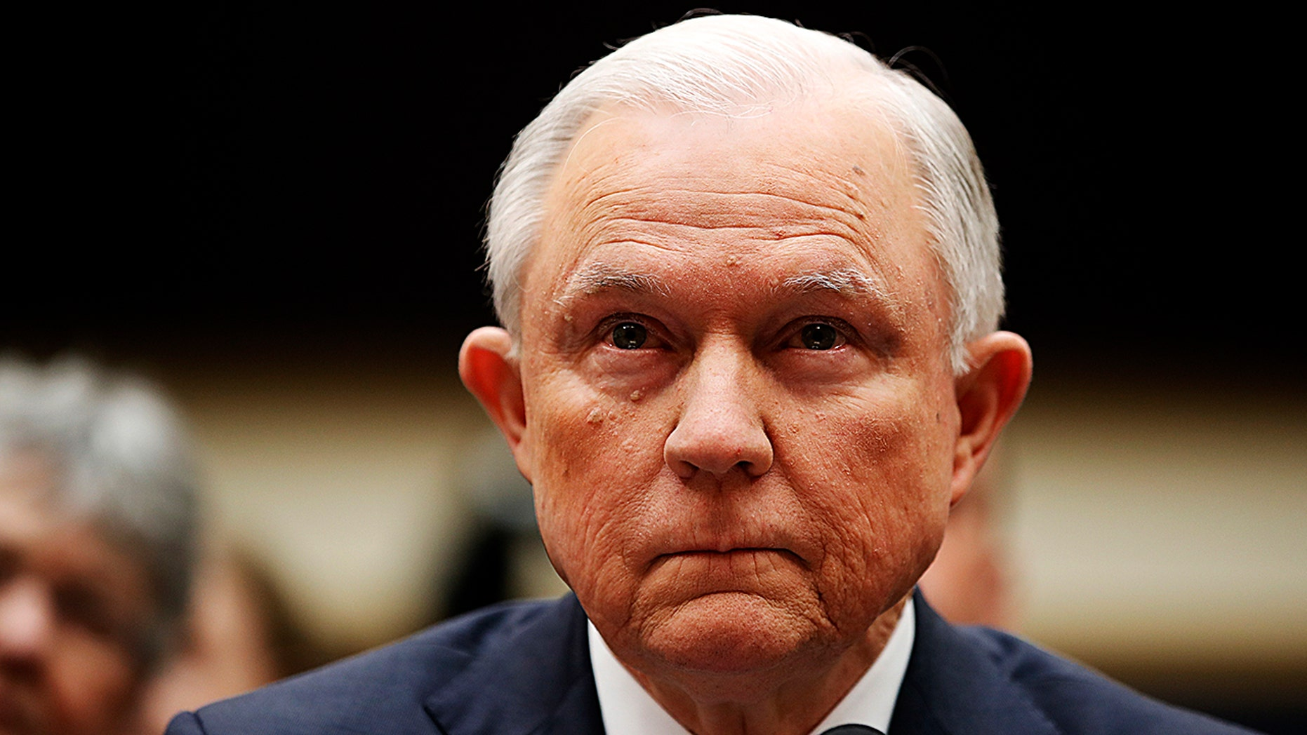 Attorney General Jeff Sessions listens at the beginning of a House Judiciary Committee hearing on Capitol Hill, Tuesday, Nov. 14, 2017 in Washington. (AP Photo/Alex Brandon)