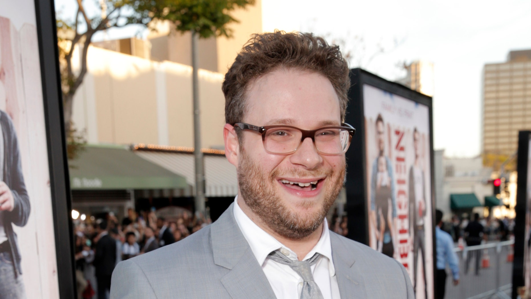 "April 28, 2014. Seth Rogen arrives at the world premiere of ""Neighbors"" at the Regency Village Theatre in Los Angeles ."