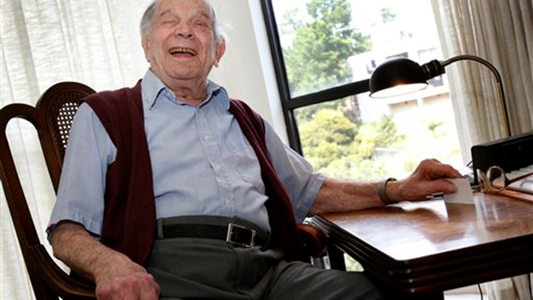 """FILE - In this Wednesday April 13, 2011 file photo, Bill Del Monte smiles at his home in Greenbrae, Calif. Bill Del Monte was born shortly before the San Francisco earthquake of 1906 and was one of the youngest to survive. William A. """"Bill"""" Del Monte died at a retirement home in Marin County Monday, Jan. 11, 2016. He was 11 days shy of his 110th birthday. (Brant Ward/San Francisco Chronicle via AP)"""