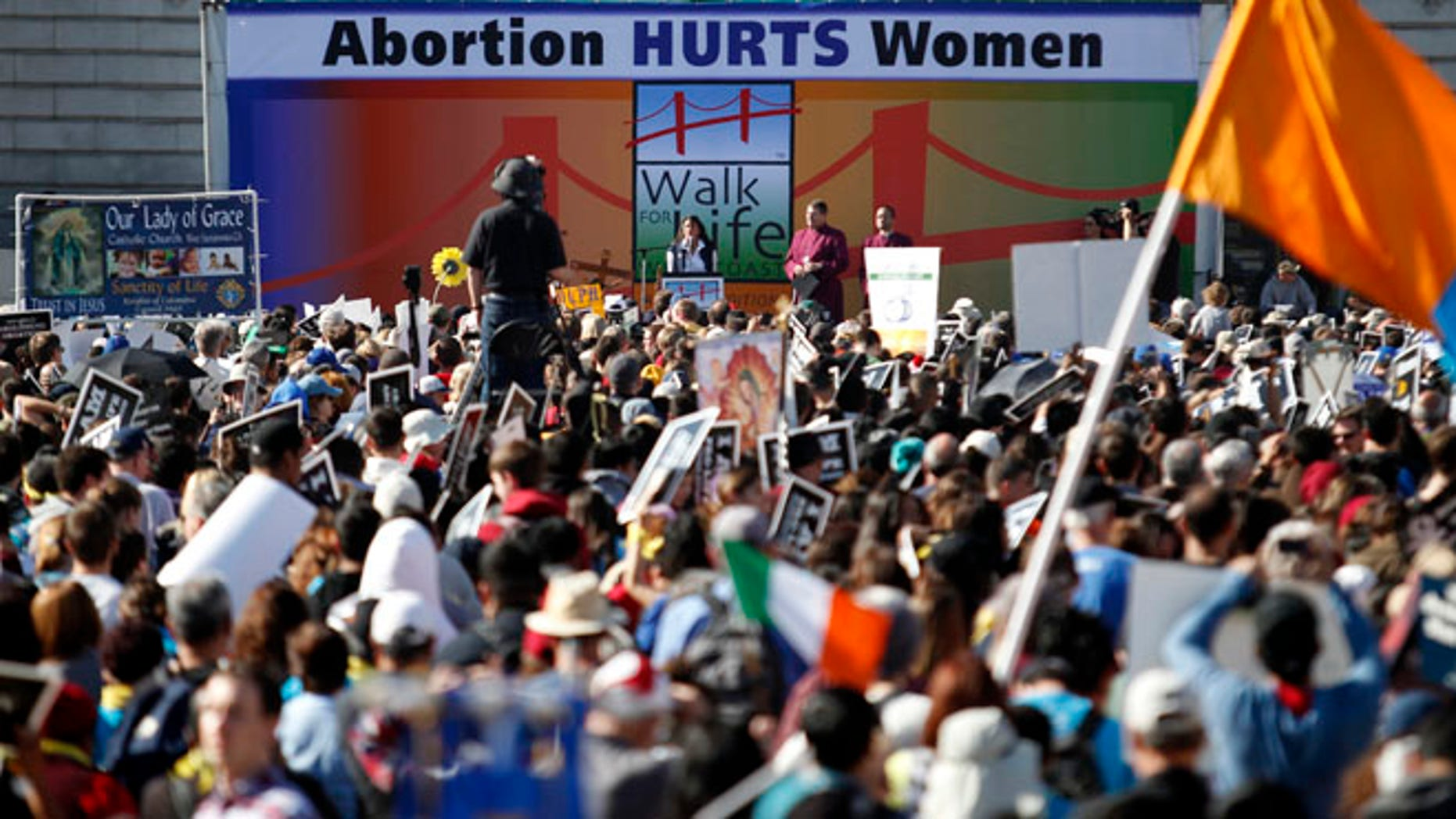 """Jan. 25, 2014: Abortion opponent Georgette Forney speaks at the """"Walk for Life"""" rally and march in San Francisco."""