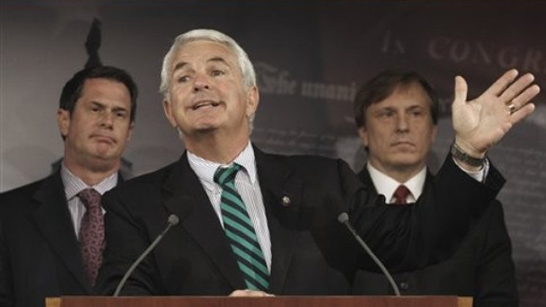 Rep. John Shadegg, R-Ariz. gestures during a news conference on Capitol Hill, Wednesday, March 11, 2009. (AP)