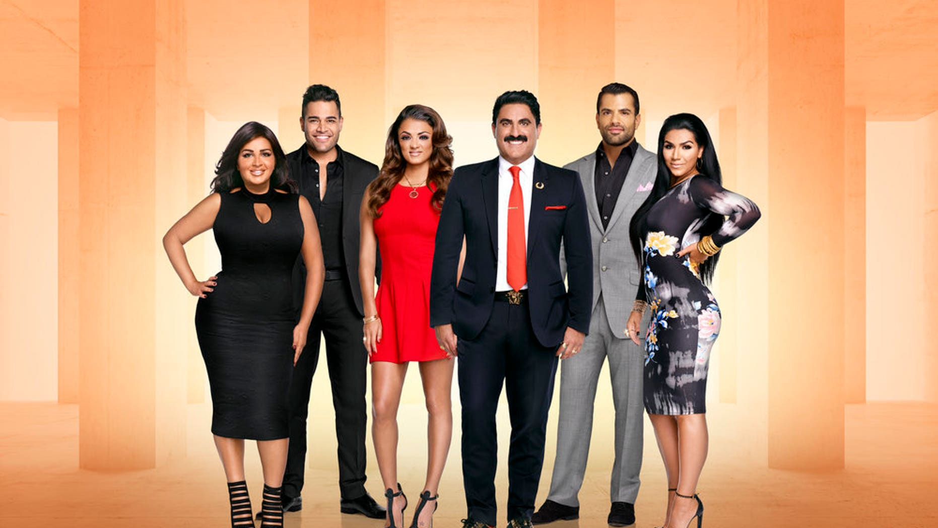 "SHAHS OF SUNSET -- Season:5 -- Pictured: (l-r) Mercedes ""MJ"" Javid, Mike Shouhed, Golnessa ""GG"" Gharachedaghi, Reza Farahan, Shervin Roohparvar, Asa Soltan Rahmati -- (Photo by: Tommy Garcia/Andrew Eccles/Bravo)"