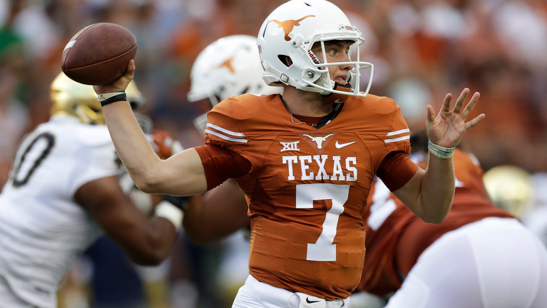 Sept. 4, 2016: Texas quarterback Shane Buechele throws a pass during the first half of an NCAA college football game against Notre Dam.