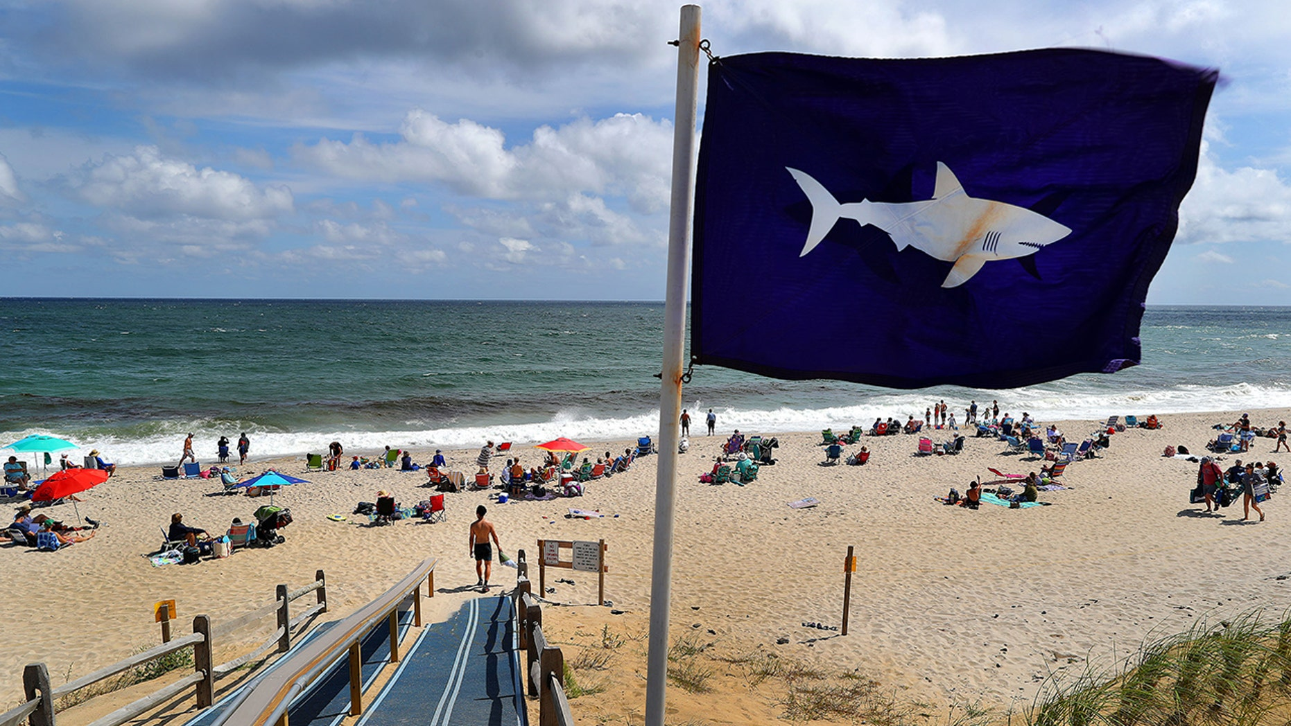 A flag warning Cape Cod visitors of sharks blows in the wind at an entrance point to Nauset Beach in Orleans, Mass., on Aug. 31, 2018.