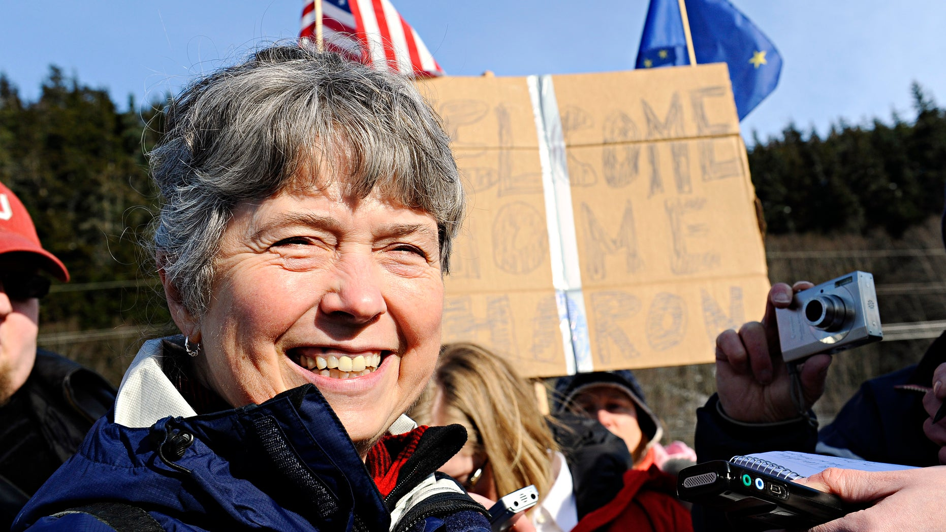 Rep. Sharon Cissna, D-Anchorage, answers questions from members of the press after disembarking the Alaska Ferry Matanuska, in Juneau, AK., Thursday, Feb. 24th, 2011. (AP)