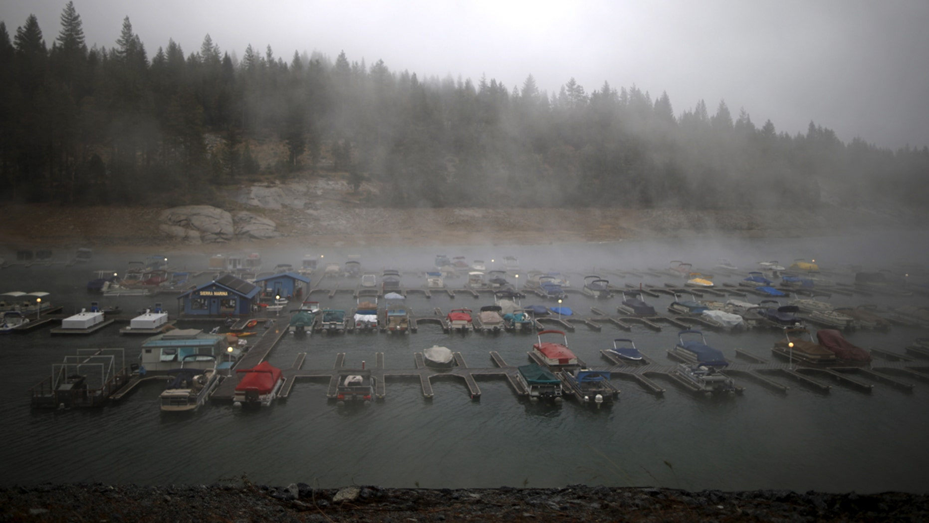 Rain falls on Shaver Lake in the High Sierra, California, United States May 7, 2015.