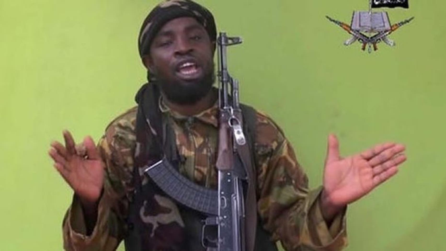 Photo taken from video by Nigeria's Boko Haram terrorist network in 2014 shows their leader Abubakar Shekau. (AP)