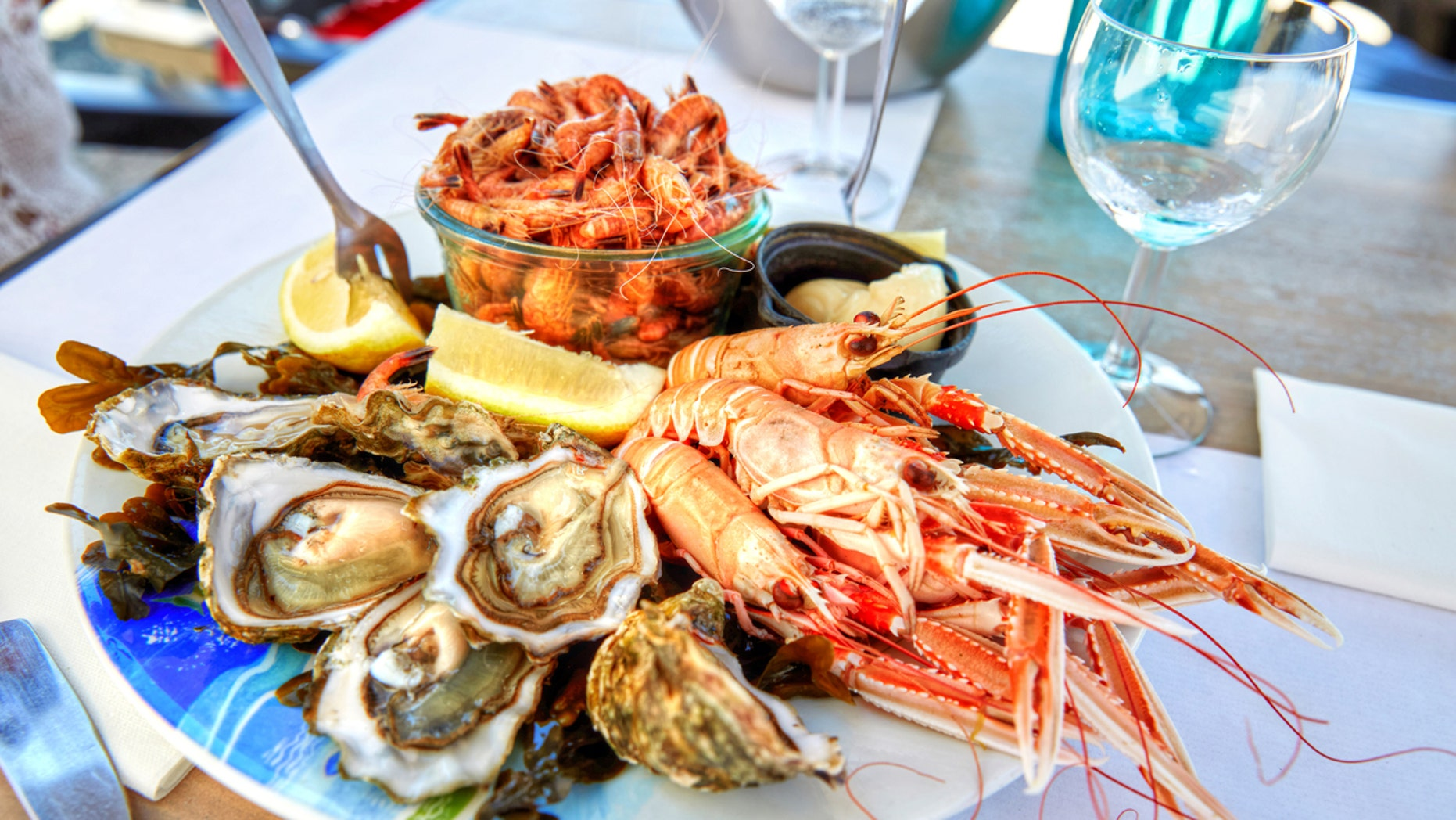 Homemade lunch plate of shellfish