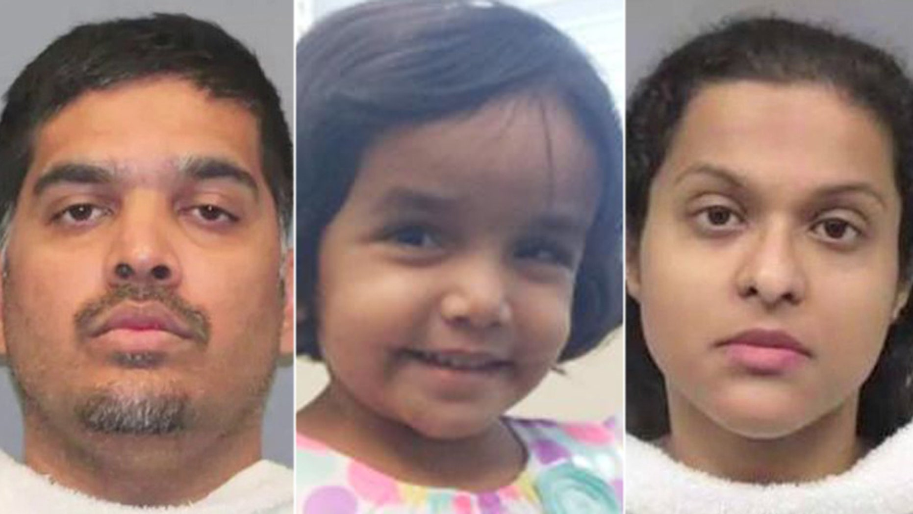 """The death of Sherin Mathews, middle, was determined to be due to """"homicidal violence,"""" an autopsy by the medical examiner's office found."""