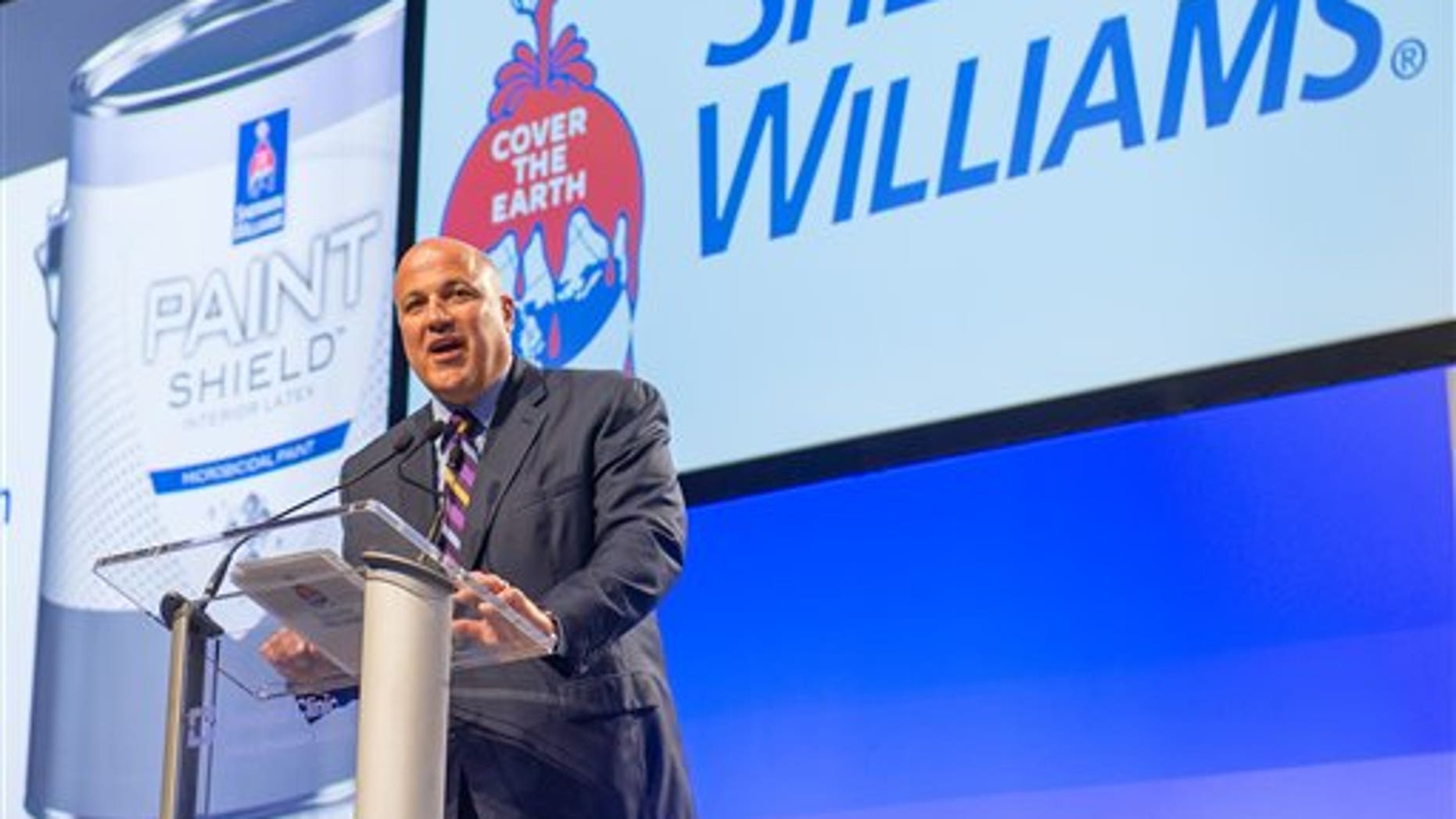 John Morikis, President, COO and CEO-elect of Sherwin-Williams introduces Paint Shield at the 2015 Medical Innovation Summit on Wednesday, Oct. 28, 2015, in Cleveland. (Jason Miller/AP Images for Sherwin-Williams)