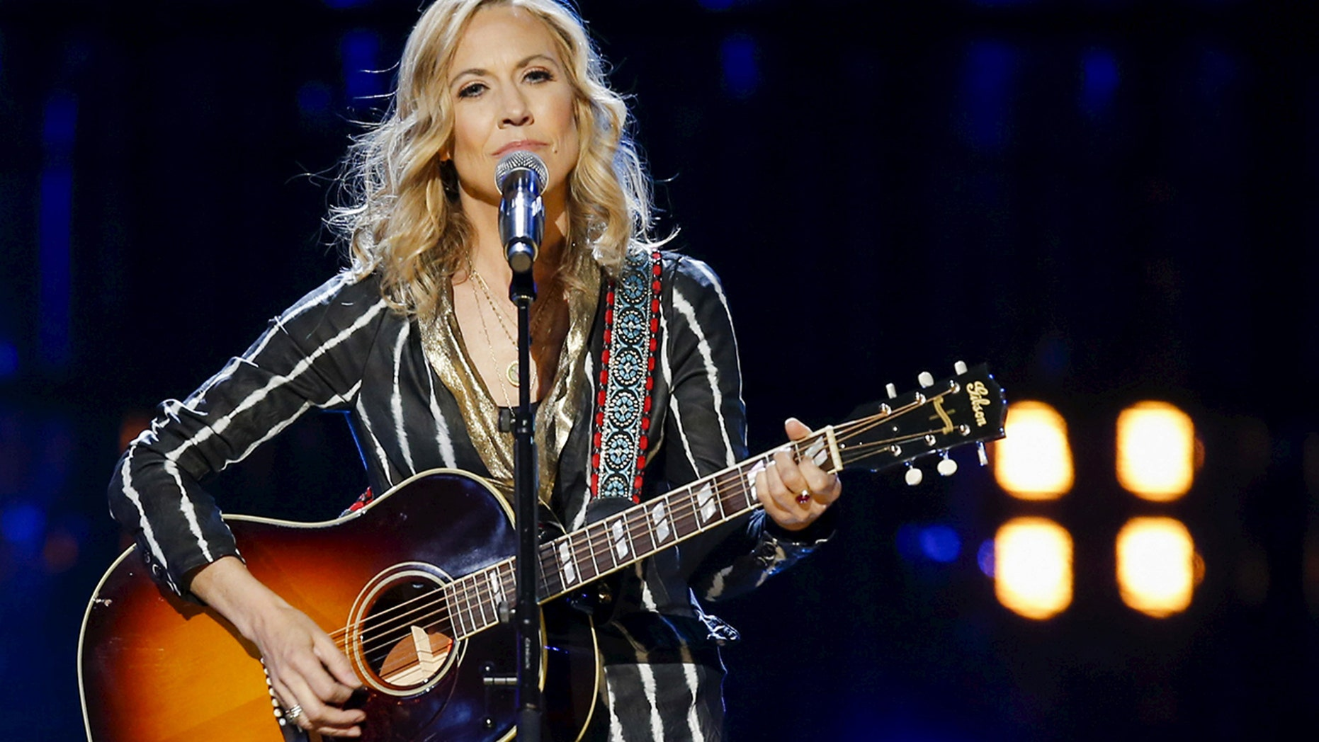 Singer Sheryl Crow performs onstage during the 31st annual Rock and Roll Hall of Fame Induction Ceremony at the Barclays Center in Brooklyn, New York April 8, 2016.