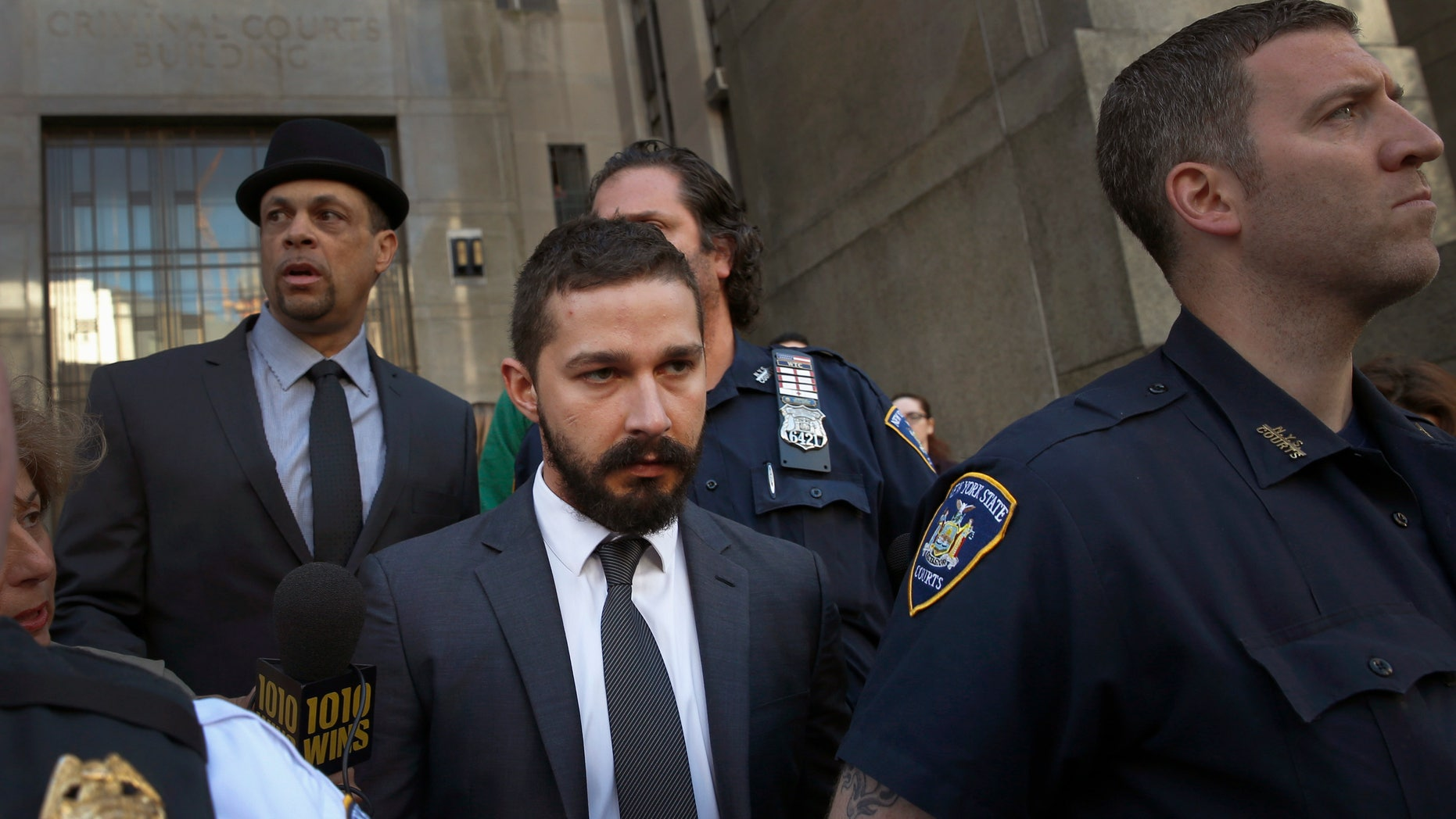 September 10, 2014. Actor Shia LaBeouf departs Manhattan Criminal Court in New York after facing charges for disorderly conduct and harassment.