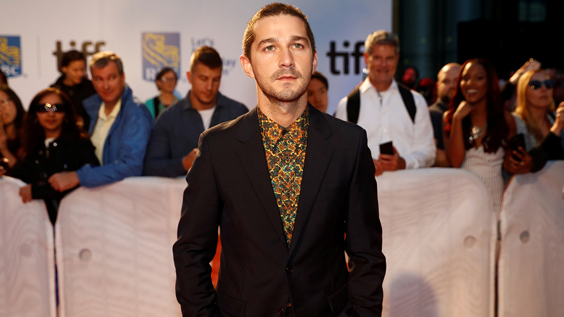 """Actor Shia LaBeouf poses as he arrives on the red carpet for the film """"Borg/McEnroe"""" at the Toronto International Film Festival (TIFF), in Toronto, Ontario, Canada, September 7, 2017.    REUTERS/Mark Blinch - RC121E1B7260"""