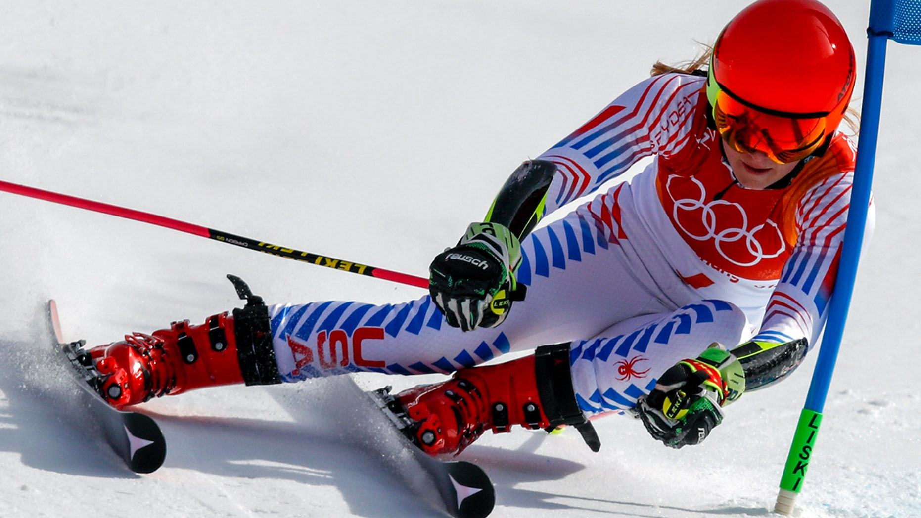 Mikaela Shiffrin, of the United States, attacks the gate during the second run of the Women's Giant Slalom at the 2018 Winter Olympics in Pyeongchang, South Korea, Thursday, Feb. 15, 2018.