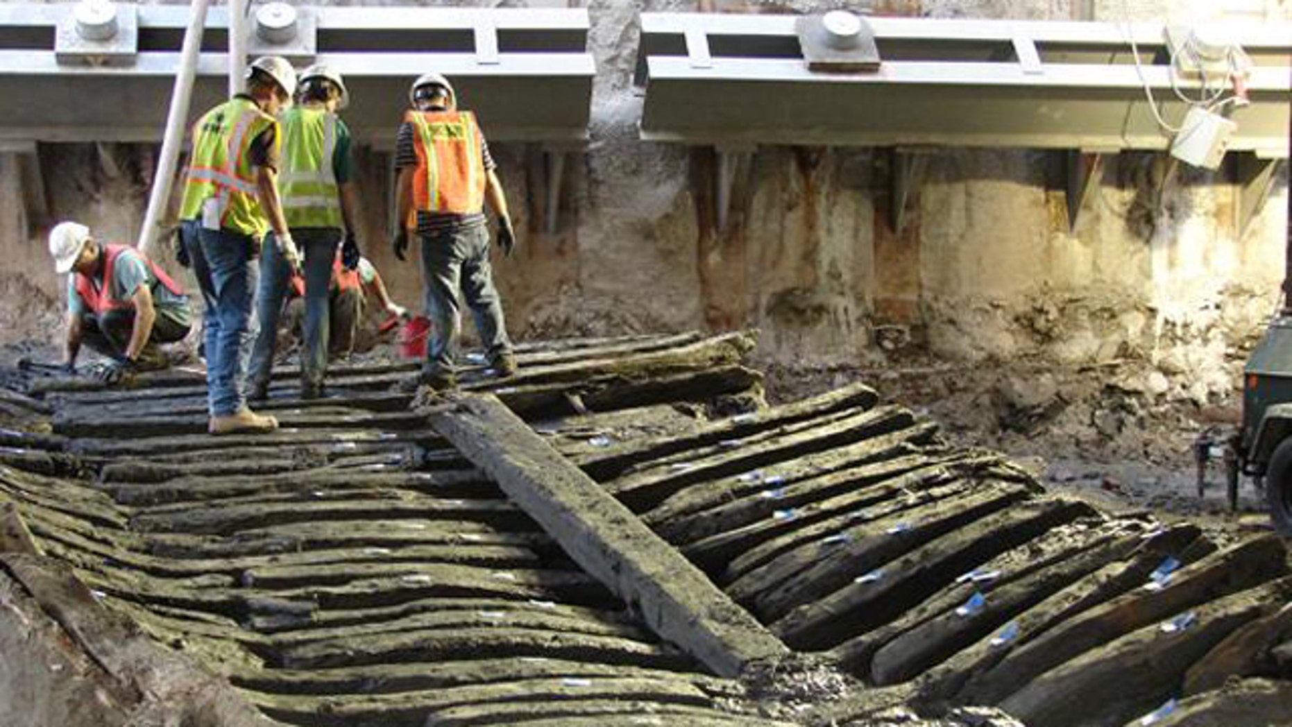 The timbers of the ship uncovered at the World Trade Center site, exposed to the air for possibly the first time in more than 200 years.