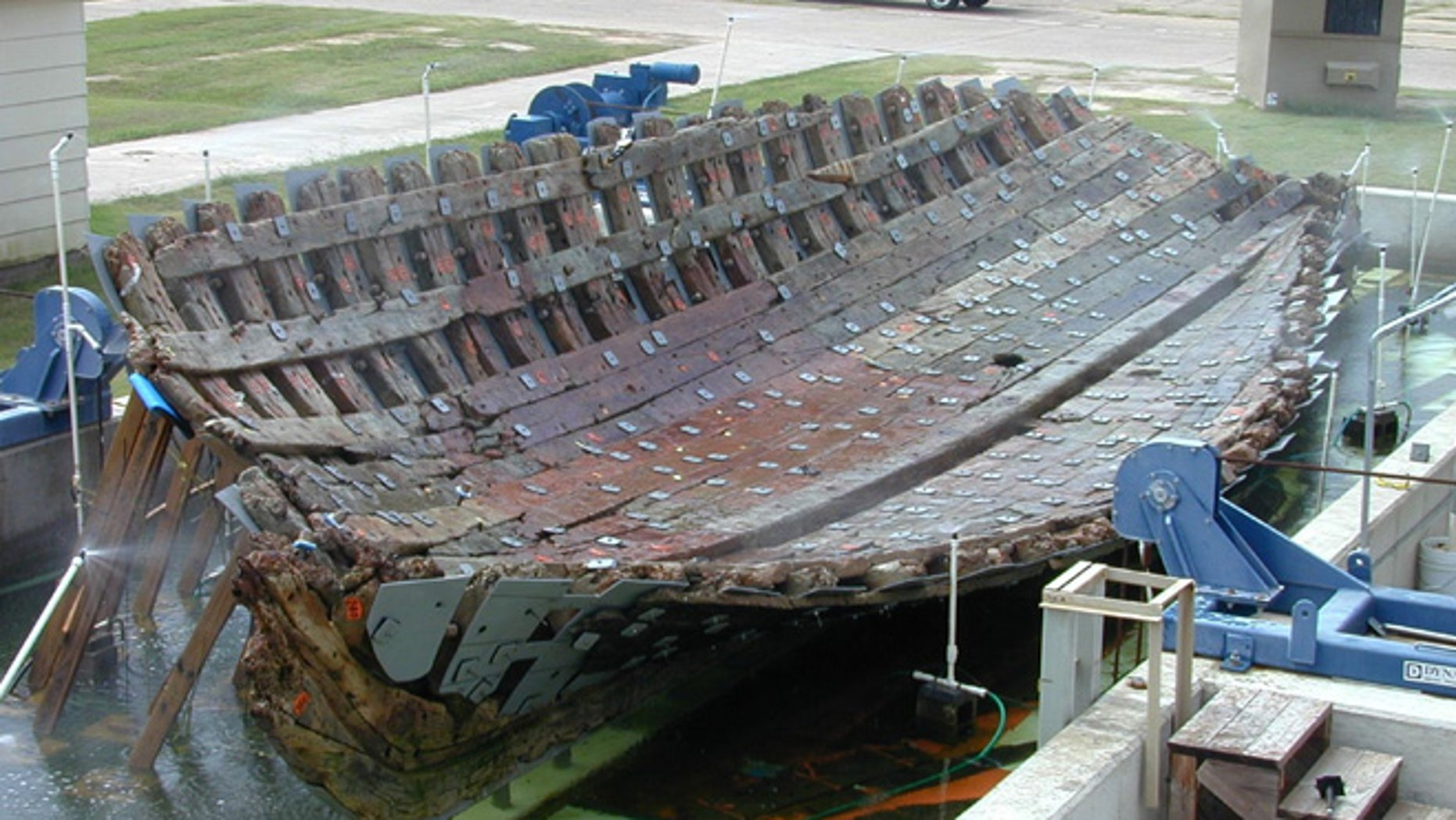 Researchers plan to rebuild the 54 ½-foot vessel, which will become the centerpiece of the Bob Bullock Texas State History Museum in Austin. The supply ship was built in 1684 and sank two years later in a storm on Matagorda Bay, about midway between Galveston and Corpus Christi, Texas.