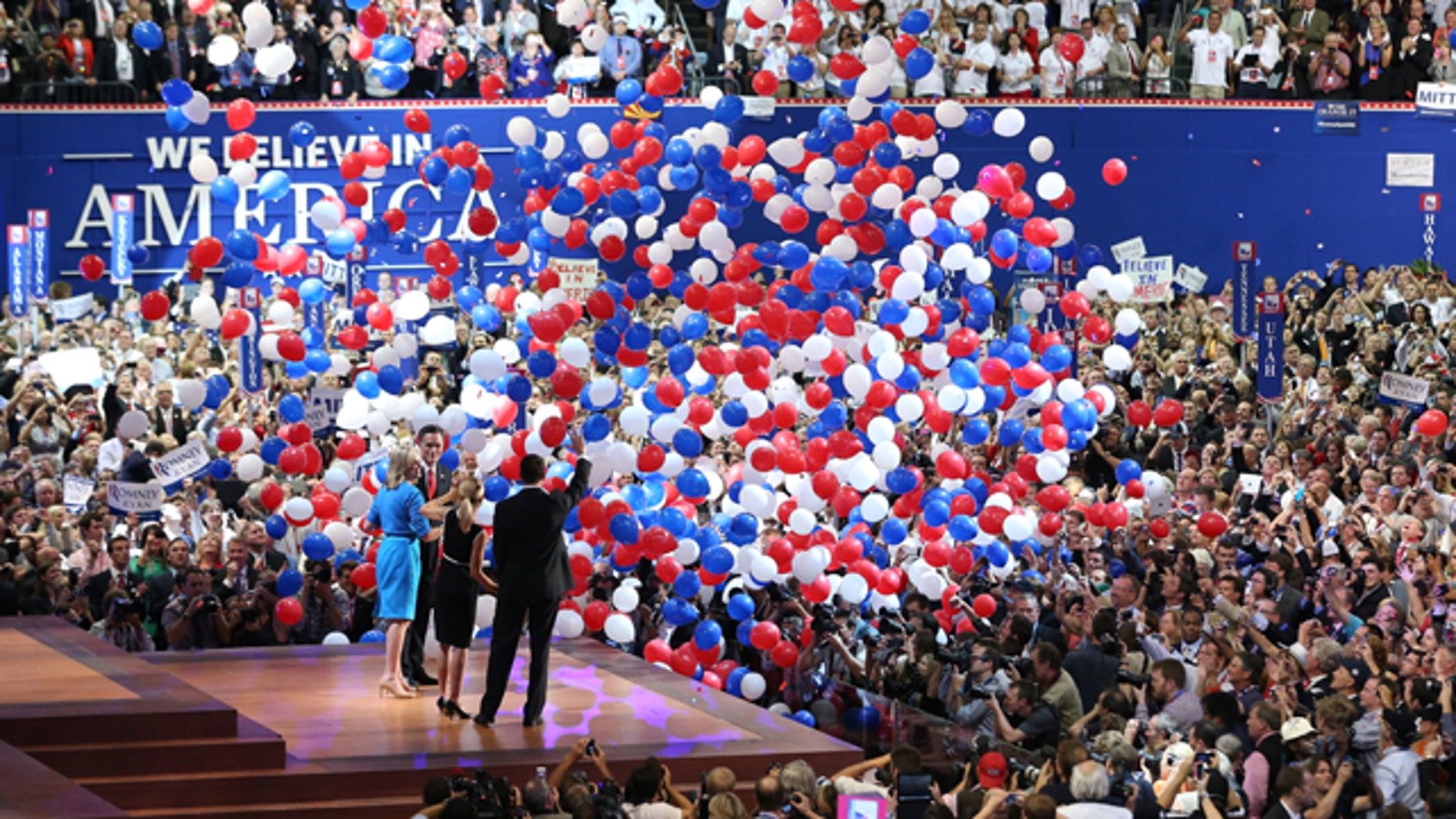 Aug. 30, 2012: Republican presidential candidate Mitt Romney and vice presidential candidate Paul Ryan are on stage with their wives Ann Romney and Janna Ryan at the end of the Republican National Convention in Tampa, Fla. Message to convention planners: Three days are enough. Both major parties packed their presidential nominating conventions into 72 hours, one day short of the traditional four-day celebration -- prompting few complaints from either delegates or the viewing public. (AP)
