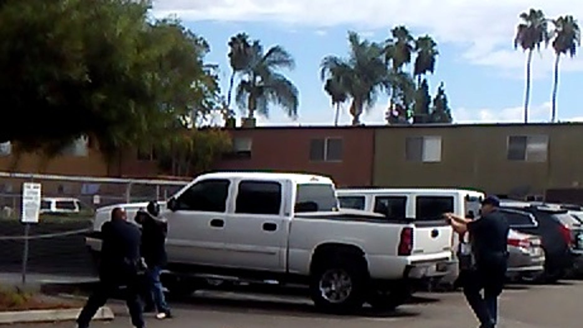 Police released this image showing officers confronting the man.