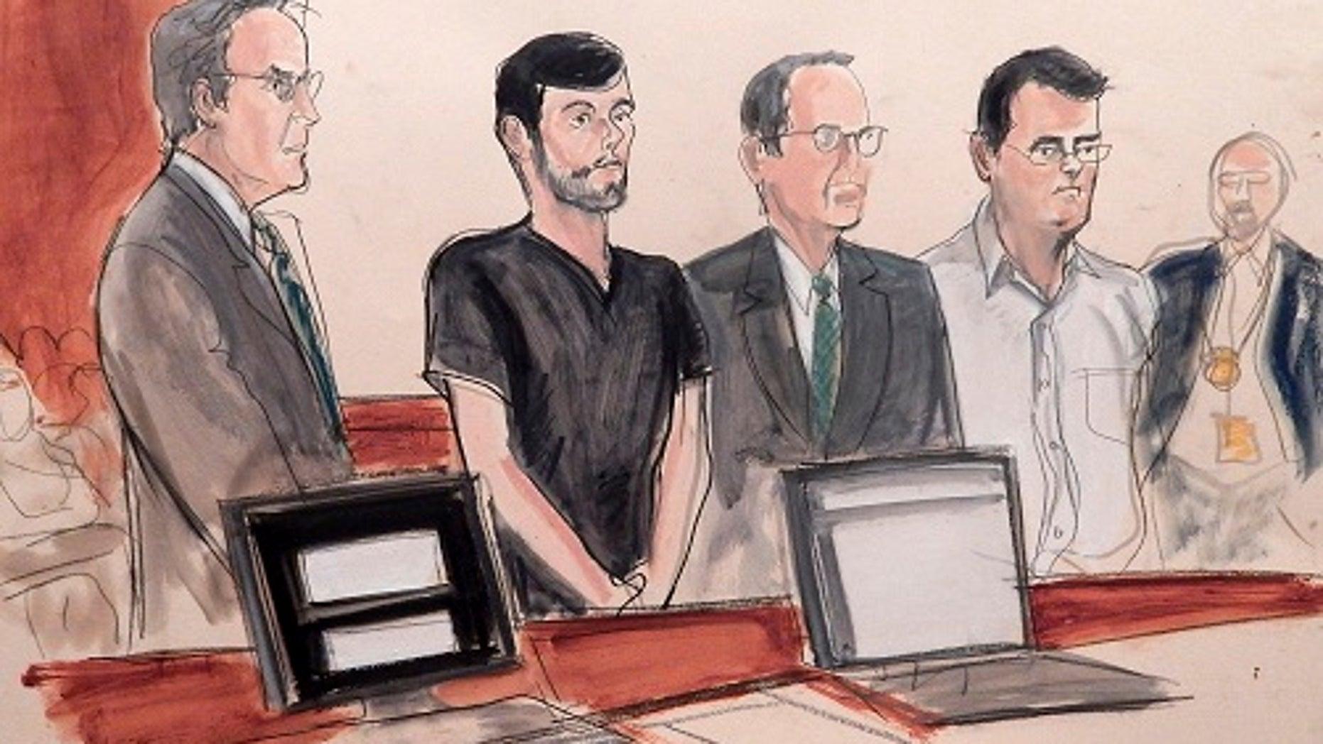 From left, defense attorney Baruch White, pharmaceutical entrepreneur Martin Shkreli, defense attorney Jonathan Sack and co-defendant Evan Greebel, appear in court in New York.