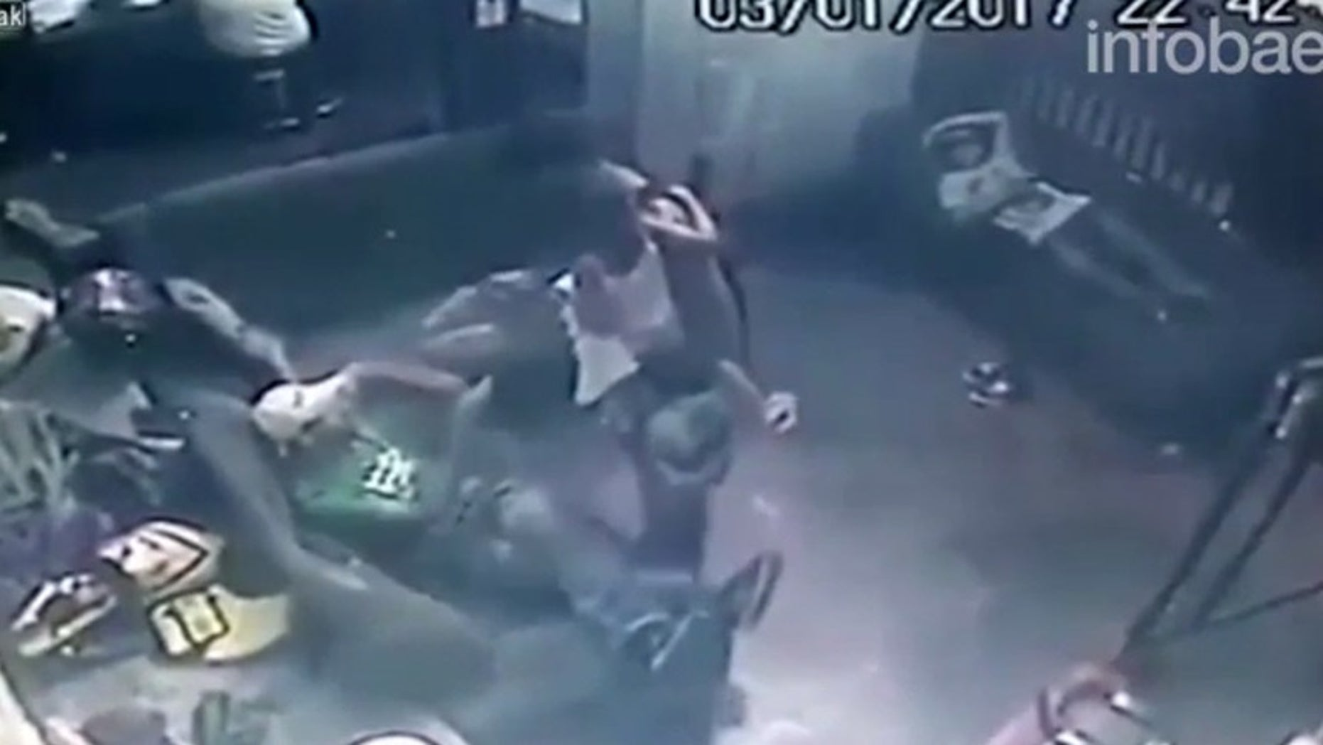 Still shot from the 20-second video caught by a surveillance camera in Minas Gerais, Brazil.