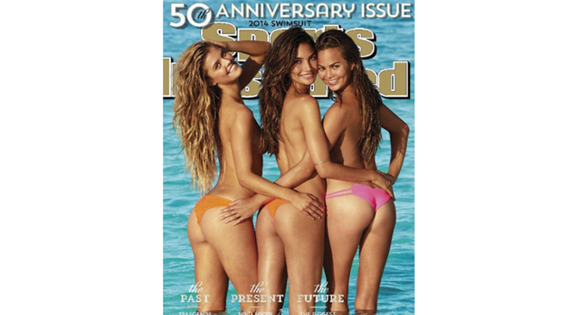 This cover image taken by James Macari for Sports Illustrated shows models, from left, Nina Agdal, Lily Aldridge, and Chrissy Teigen on the cover of the 2014 Swimsuit Issue. The 50th Anniversary issue will go on sale on February 18.