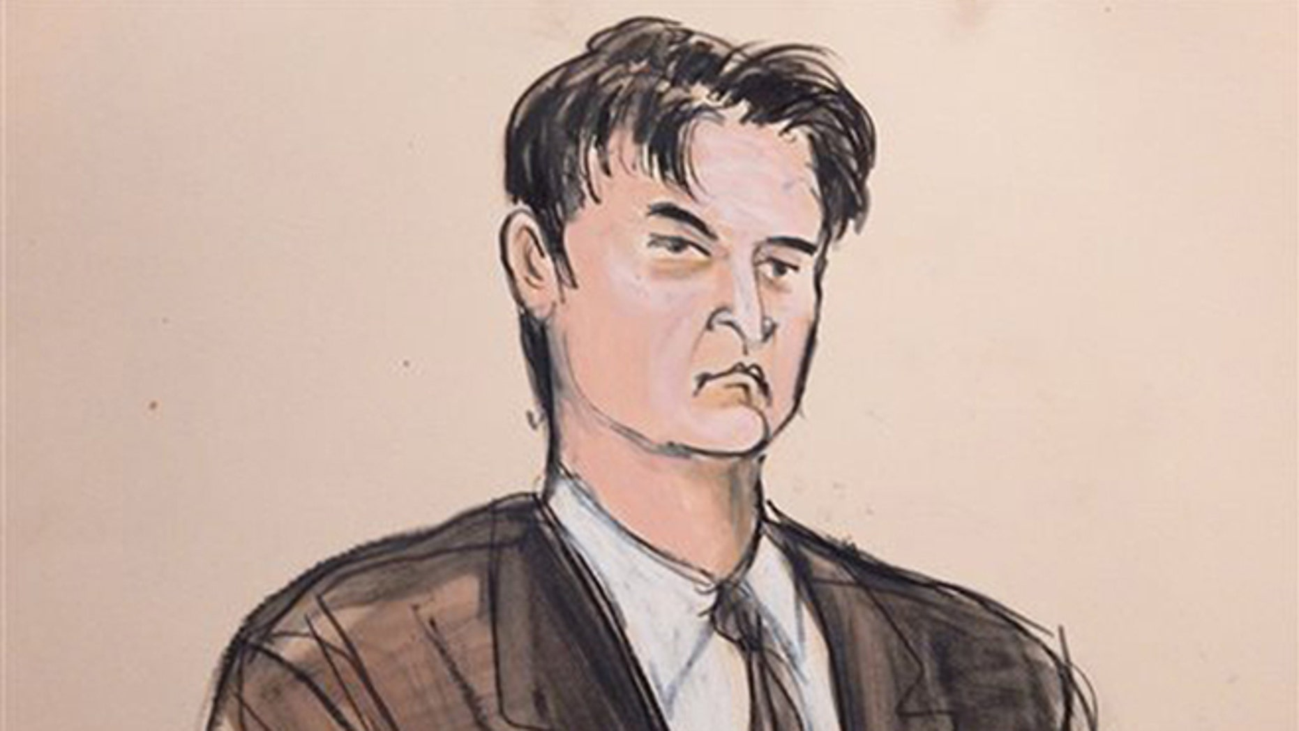 FILE - This Feb 4, 2015, file courtroom sketch, shows defendant Ross William Ulbricht as the deputy recites the word guilty multiple times during Ubrichts trial in New York.