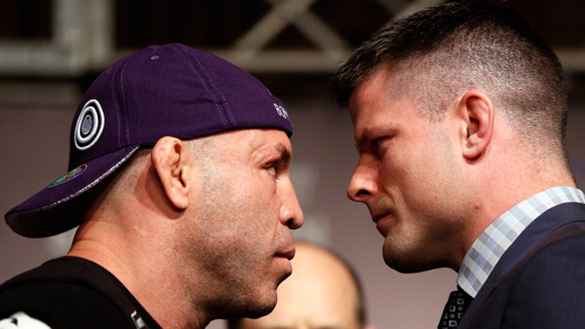 TOKYO, JAPAN - FEBRUARY 28: (L-R) Opponents Wanderlei Silva and Brian Stann face off during a UFC press conference at the Hilton Sjinjuku Hotel on February 28, 2013 in Tokyo, Japan. (Photo by Josh Hedges/Zuffa LLC/Zuffa LLC via Getty Images)
