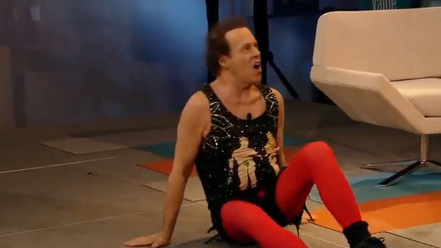 Shown here is an image from the web stream featuring Richard Simmons, in promotion of ObamaCare in California.