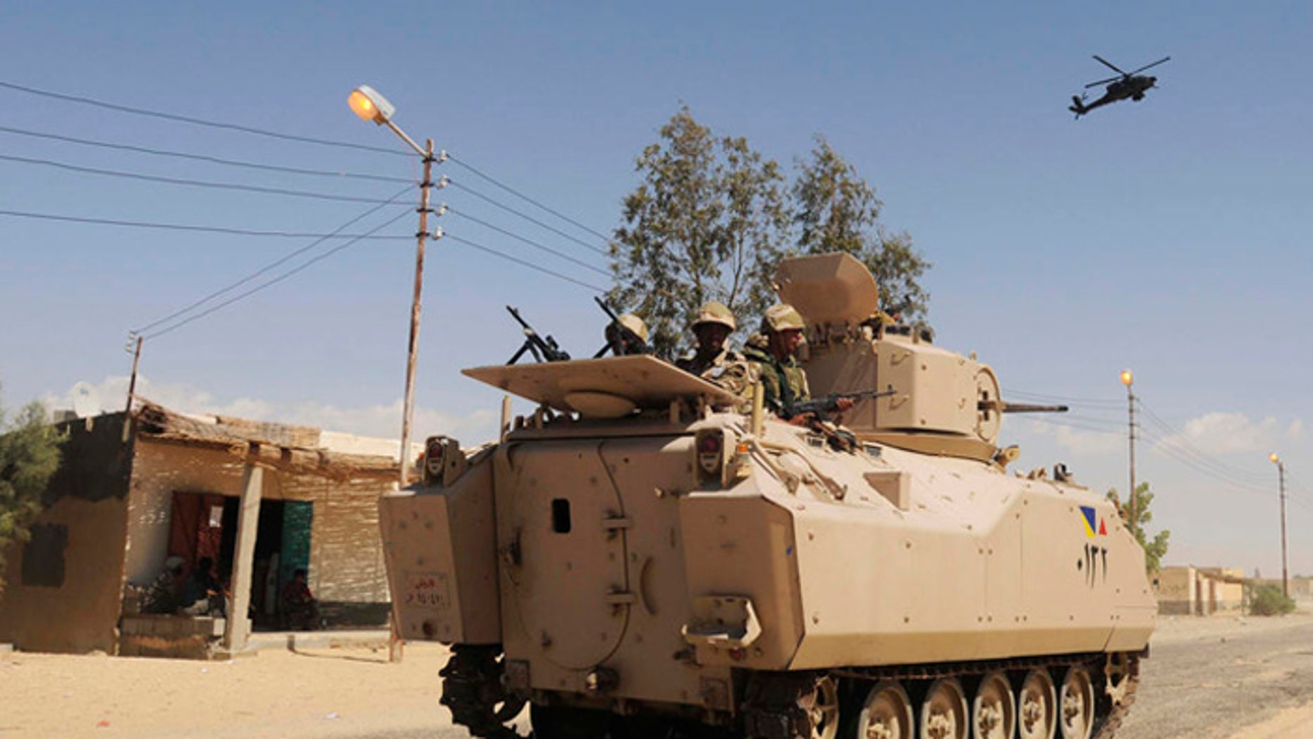 """More than 20,000 Egyptians soldiers are pouring into the lawless Sinai Peninsula to """"cleanse"""" the vast region of militant jihadists. (AP Photo, File)"""