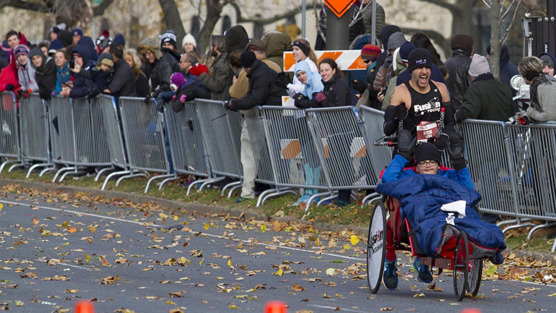 Steve Sinko and his partner Preston Buenaga flew through the Philly marathon course together on November 20, 2016.