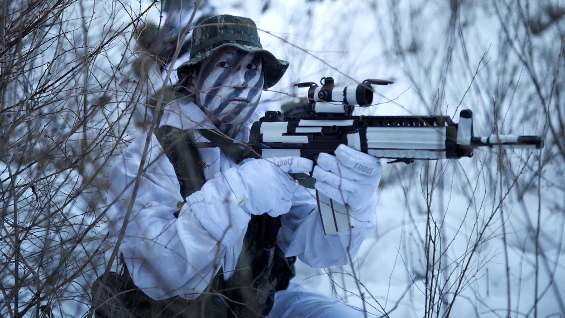 South Korean and U.S. Marines take part in a winter military drill in Pyeongchang, South Korea on Dec. 19.