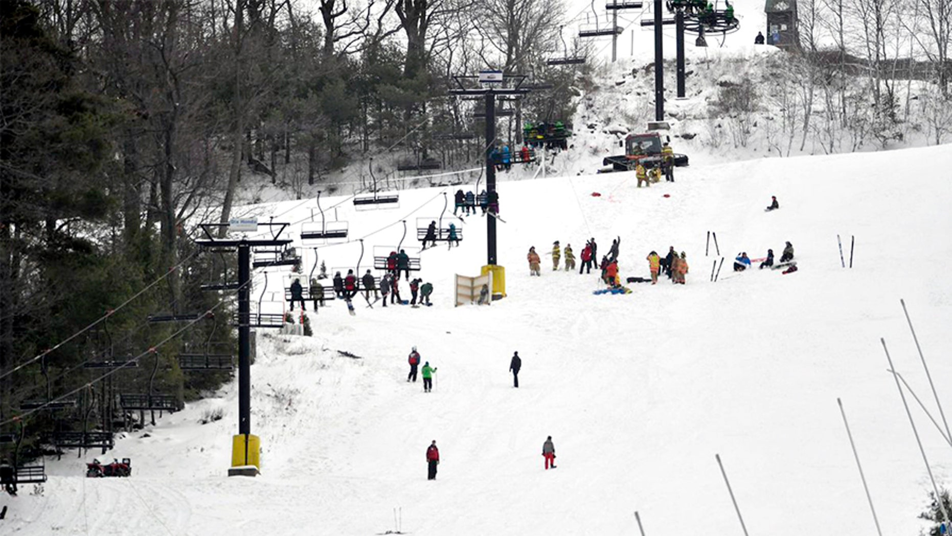 The chairlift at Tussey Mountain in Harris Township, Pennsylvania, became stuck Saturday morning after a malfunction.