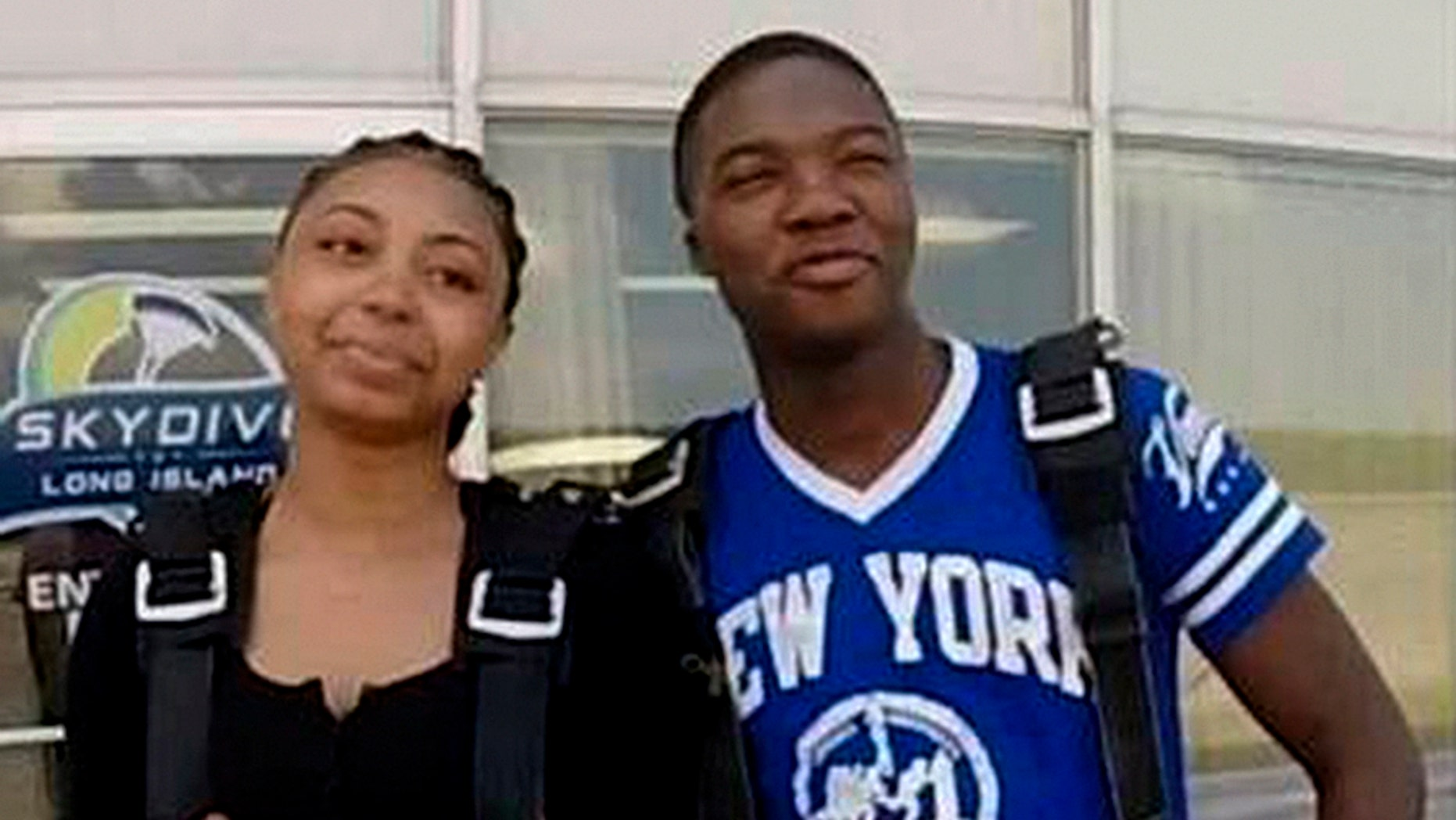 Police on Long Island say skydiving video shows a man and woman wanted for stealing a credit card to go on the jump.