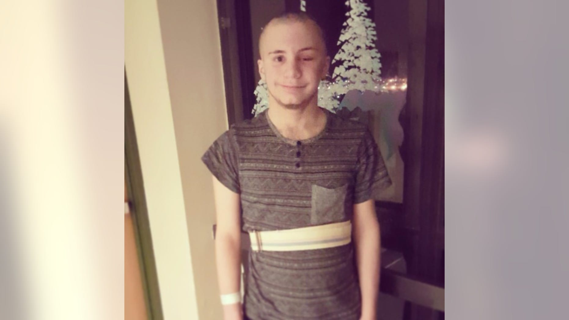 """Skylar Fish, of Renton, Washington, pictured here, had to be rushed to the hospital after suffering a brain bleed. He had been participating in """"The Duct Tape Challenge."""""""