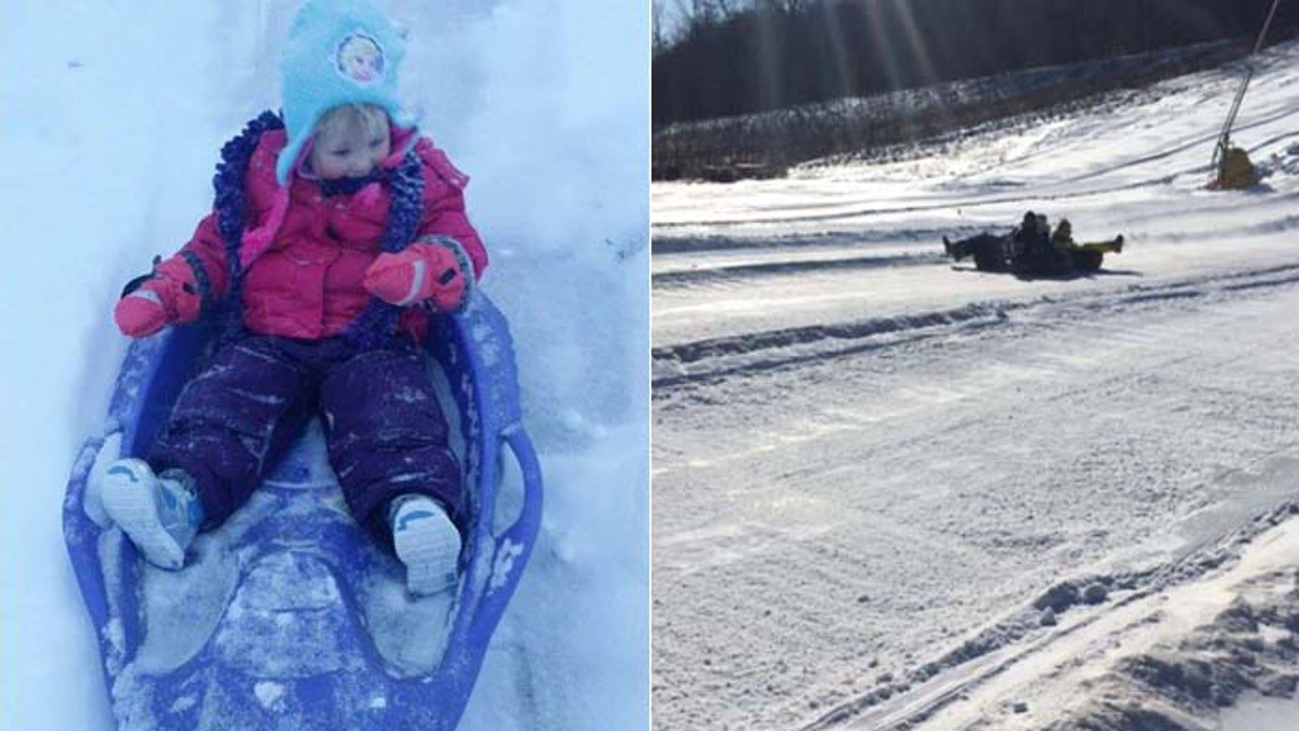 Kids in Dubuque, Iowa, like Ava Van Walbeek, 2, won't be sledding on public property under a new ordinance. (Courtesy: Micole Van Walbeek, Natasha Sayles)