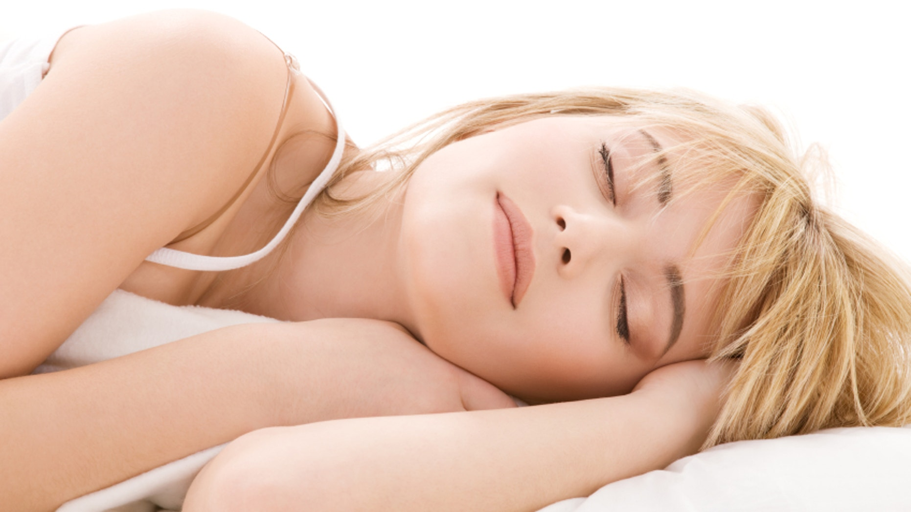 bright closeup picture of sleeping teenage girl