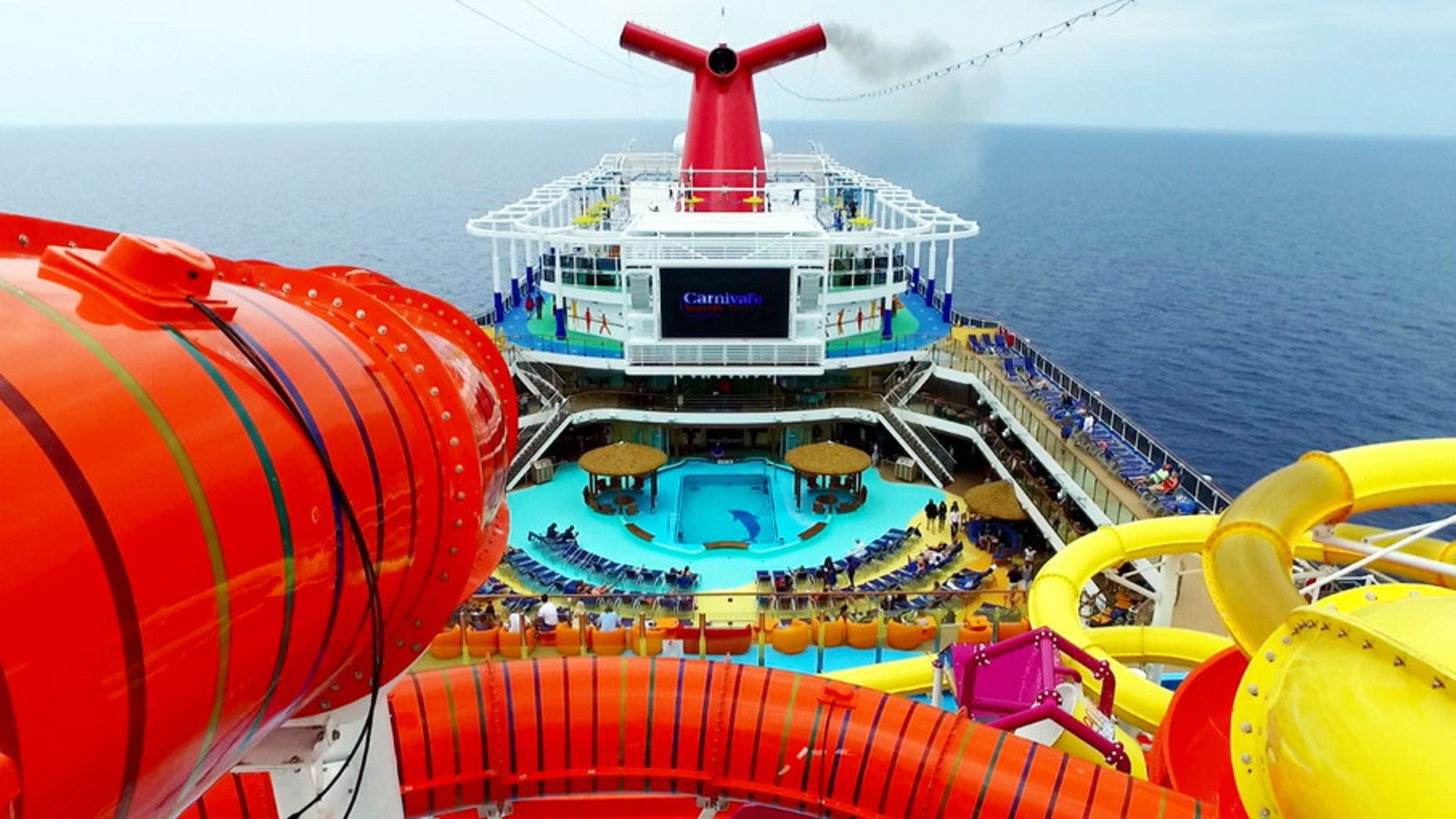 An aerial view of Carnival Vista.
