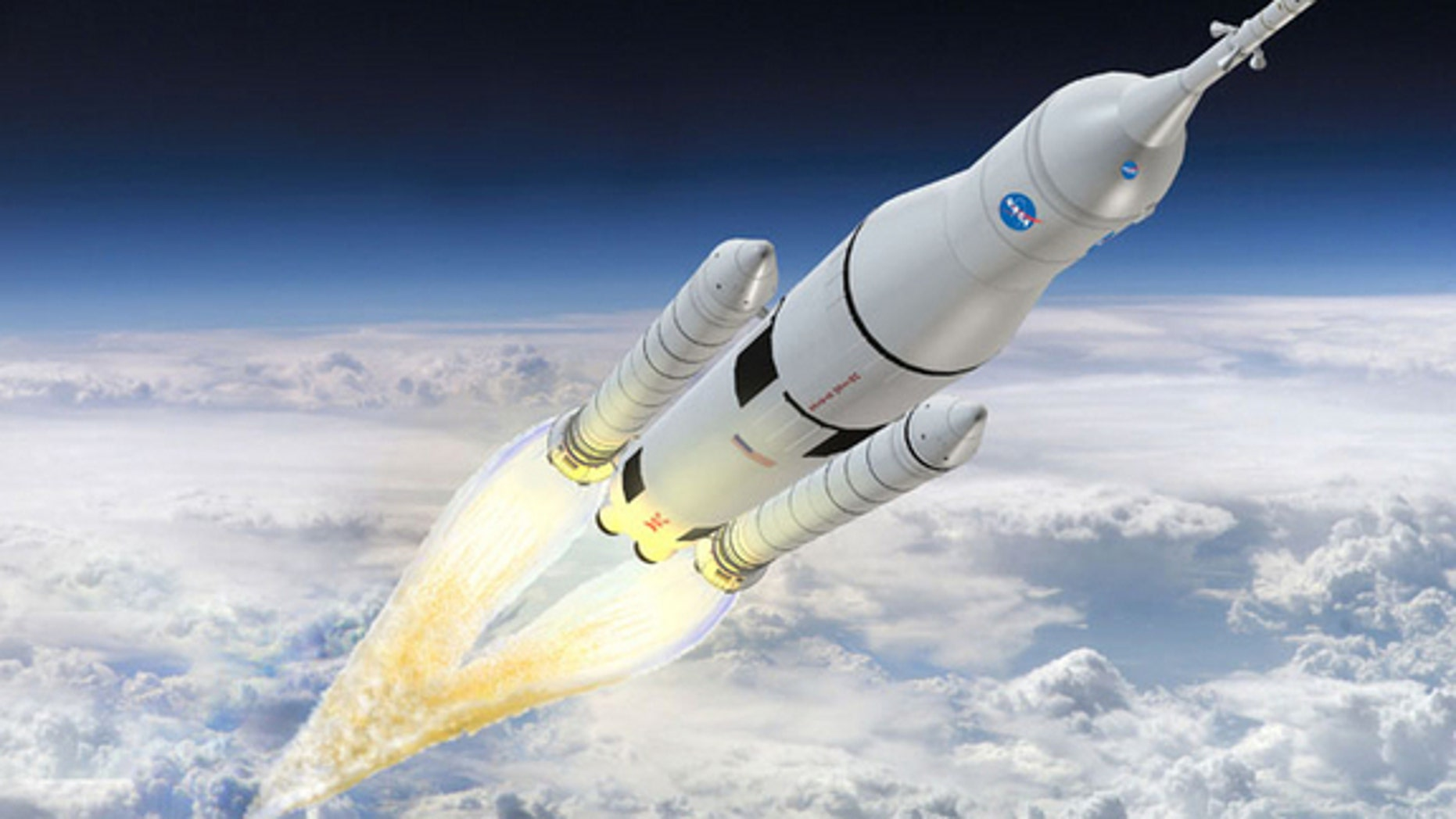 An artist's rendering of NASA's Space Launch System (SLS). Boeing is the prime contractor responsible for the SLS cryogenic stages and avionics.