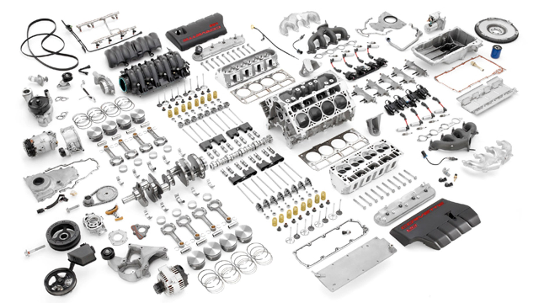 Exploded view of 6.2-liter LS3 small block V8