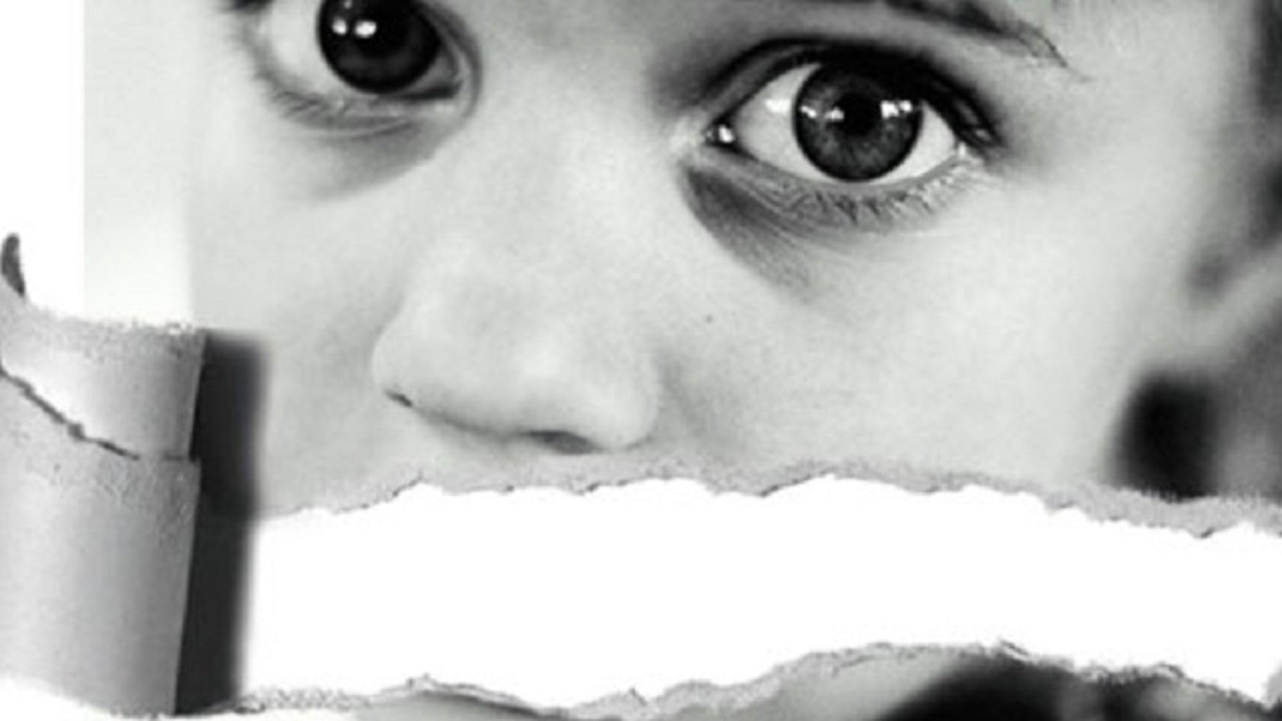 An image on the anti-pornography website SMILE29.eu shows a young girl, her mouth symbolically ripped away.